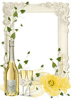 Wedding champagne and delicate roses