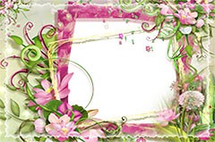 Photo frame with pink and green flowers