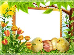 Happy Easter with cute chicks