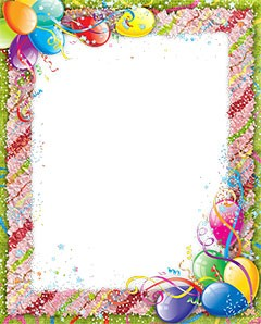 Photo frame with colored confetti on Birthday