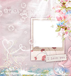Love photo frame with hearts