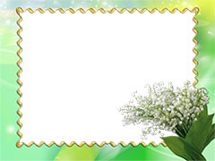 Flower photo frame with snowdrops