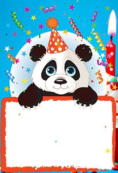 Birthday frame with cute Panda