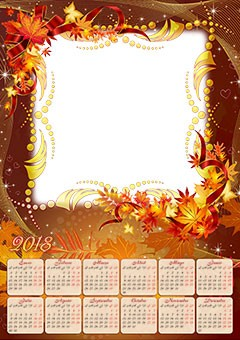 Calendar 2018. Magic Autumn leaves