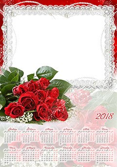 Calendar 2018. Bunch of red roses