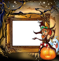 Halloween frame with a witch sitting on a pumpkin