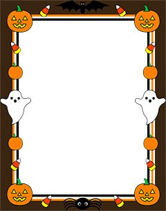 Halloween border with ghosts and pumpkins