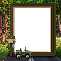 Frame with a boy in a military form
