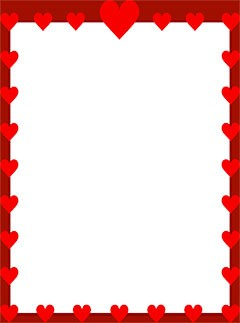 Border with red hearts