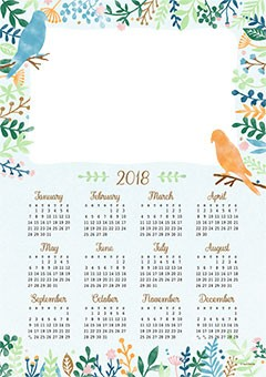 Calendar 2018. Frame with birds