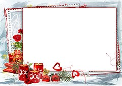 Christmas frame with hearts and candles
