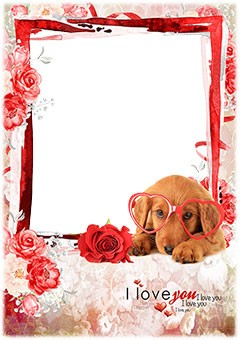 Say love you with a photo frame with a cute dog