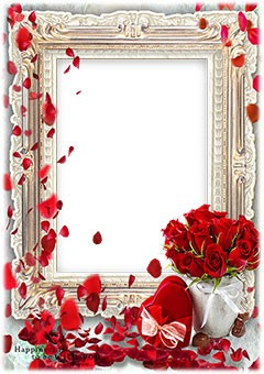 Red hearts and red roses