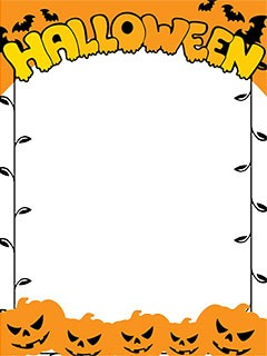 Halloween border with angry pumpkins