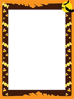 Halloween frame border with treats for kids