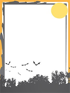 Halloween photo frame border with flying bats