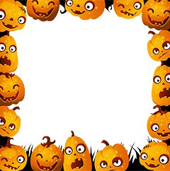 Halloween frame with emotional pumpkins
