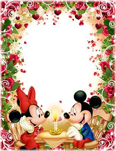 Romantic dinner of Mickey and Minnie Mouse