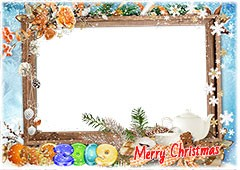 Happy New Year 2019. Winter photo frame