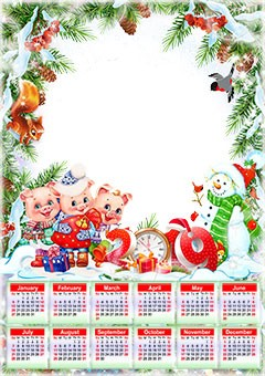 Calendar 2019. Three little pigs