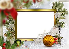 New Year golden frame with decorations