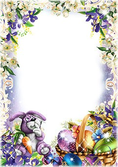 Easter photo frame in violet colors