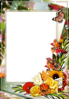 Photo frame with bright bunch of flowers