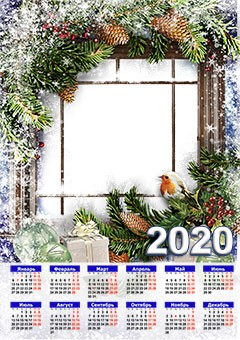 Calendar 2020. Snowy window