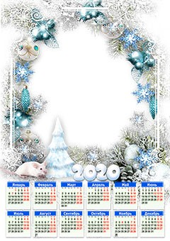 Calendar 2020. White patterns