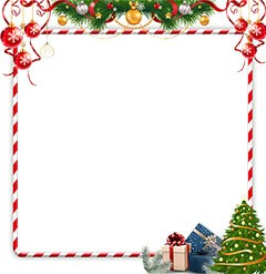 Bright red and white frame with a New Year decorations