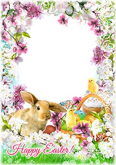 Easter rabbit in bright flowers