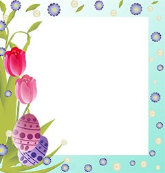 Easter frame border with bright flowers