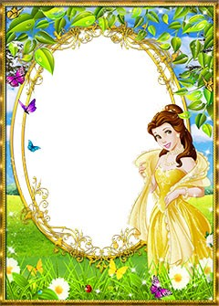 Princess Belle in the wooded meadow