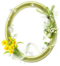Oval floral frame with yellow  narcissists