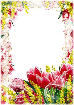 Floral frame with red tulips and yellow flowers