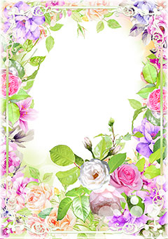 Classic frame with painted flowers