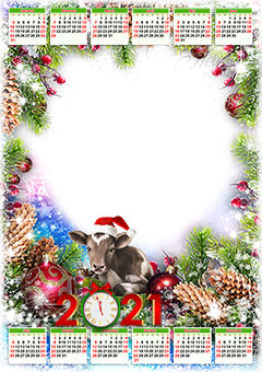 Calendar 2021. Metal ox in Christmas hat