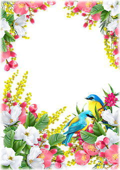 Spring birds inside of colorful flowers