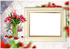 Wooden photo frame and bouquet of tulips