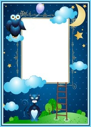 Mini Photo frame - Aplique night photo frame with moon, owl and cat