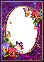 Mini Photo frame - Beautiful bright day with charming pansies
