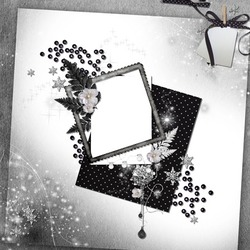 Mini Photo frame - Black-white scrap page