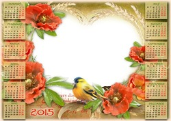 Mini Photo frame - Calendar 2015. Summer in the country