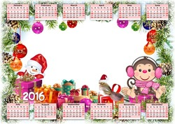 Mini Photo frame - Calendar 2016. The little monkey
