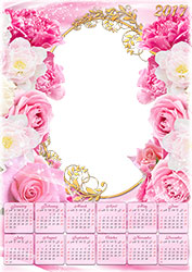 Mini Marco de fotos - Calendario 2017. Flores de color rosa