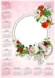 Mini Photo frame - Calendar 2017. White and red roses