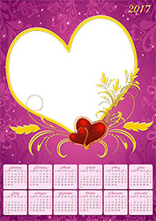 Mini Cadre photo - Calendar 2017. Year of love