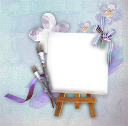 Mini Photo frame - Canvas with the purple brushes