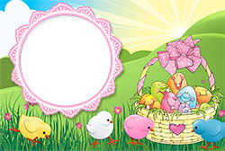Mini Photo frame - Cute Easter chicks and funny Easter eggs
