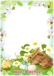 Mini Photo frame - Easter Chicken and Rabbit